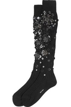 Embellished black cotton knee socks