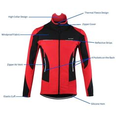 OUTON Men  Cycling Jacket Windproof Breathable Lightweight Reflective Warm  Thermal Stand-up Collar Waterproof MTB Mountain Bike Jacket (Red 95d72c836