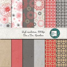 Digital Paper - Floral Digital scrapbook paper, digital background, seamless digital paper, red and gray scrapbook paper by LittlePrintsOttawa on Etsy Red And Grey, Gray, Digital Scrapbook Paper, Paper Goods, Unique Jewelry, Handmade Gifts, My Etsy Shop, Clip Art, Floral