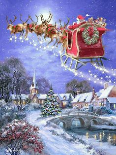 christmas scenes 40 Beautiful Christmas Painting Ideas to Try This Season - Page 2 of 3 - Bored Art Christmas Travel, Christmas Past, Christmas Greetings, Winter Christmas, Christmas Crafts, Christmas Decorations, Ecards Christmas, Magical Christmas, Christmas Costumes