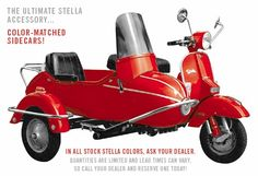 STELLA Scooter w/ sidecar! I WILL be buying one eventually... possibly next Summer! Think I'm gonna go with Avocado Green or Slate Blue. CAN'T WAIT!!!