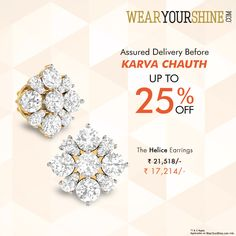 """""""The Helice Earrings are all you need to pamper your loved one. Avail up to 25% off this Karva Chauth  #WearYourShine #Love #PCJeweller #Like #Diamonds #Gemstones #Jewellery #Happiness #Shine #Gleam #Jewels #Rings #Fashion #Trends #Woman #Offers #Festival #Discounts"""""""