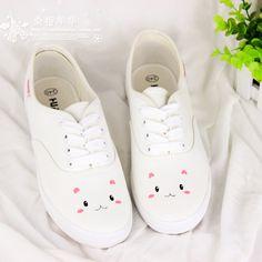 Free shipping 2014 Small fresh soft rabbit HARAJUKU shallow mouth flat shoes canvas hand-printed women canvas shoes