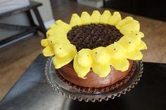 Easter peeps sunflower cake tutorial | Farmish Momma