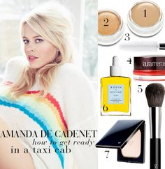 The multi-hyphenate (and seriously accomplished) Amanda de Cadenet shares her favorite products for getting ready in a taxi cab. #beautysecrets