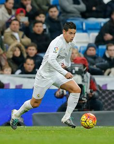 James Rodriguez of Real Madrid in action during the La Liga match between Real Madrid CF and Real Sporting Gijon at Estadio Santiago Bernabeu on...
