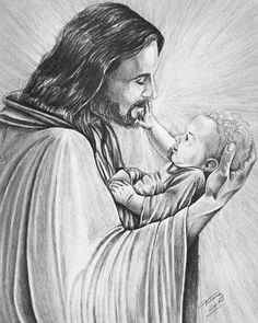 Commissioned hand drawn pencil portrait O Jesus holding a baby Pictures Of Christ, Religious Pictures, Jesus Is Risen, Jesus Loves, Jesus Art, God Jesus, Jesus E Maria, Jesus Painting, Prophetic Art