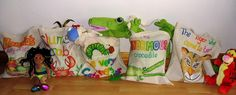 A selection of my home made story sacks Story Sack, Crocodile, Paper Shopping Bag, Little Ones, Presents, Homemade, Activities, Sacks, Fun