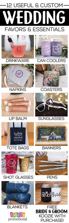 Create an unforgettable wedding with our custom but yet useful wedding favors & essentials! We carry all of the trending wedding colors & styles of can coolers, drinkware, sunglasses, coasters, napkins & more to compliment ANY wedding! BONUS, you can receive a FREE bride & groom can cooler with ANY order!
