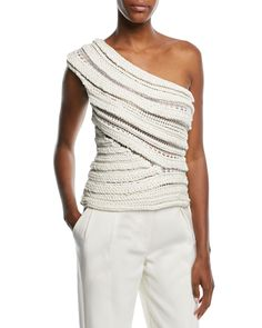 Narciso Rodriguez One-Shoulder Textured Knit Top and Matching Items