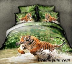 #tiger #water #beddingset Buy link-->http://goo.gl/OBWxfo Live a better life,start with @beddinginn http://www.beddinginn.com/product/New-Arrival-Beautiful-Tiger-Jumping-in-Water-Print-4-Piece-Bedding-Sets-10871527.html