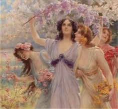 Women in Painting by Austrian Art Nouveau Artist Alois Hans Schram