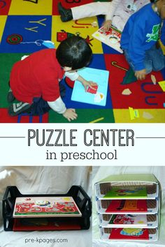 How to stock and organize a preschool puzzle center. Materials list and storage tips too!