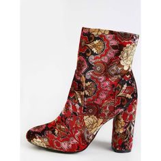 Vintage Inspired Patterned Ankle Booties MULTI (73 BAM) via Polyvore featuring shoes, boots, ankle booties, vintage style boots, print boots i pattern boots