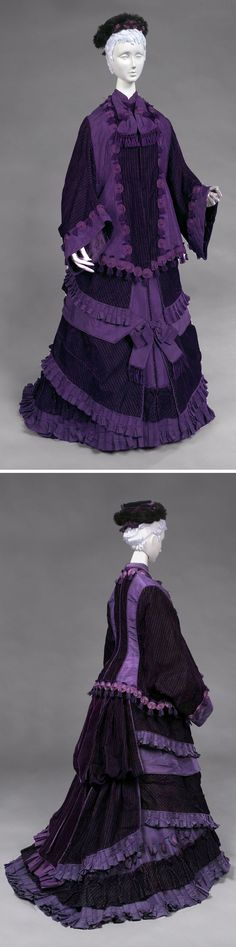"""Three-piece ensemble: coat, bodice, and skirt, Amedée François, Paris, ca. 1878. Purple silk faille trimmed with purple velvet, braid, and tassels. """"Amedée François was one of the many small dressmaking firms noted for its 'robes' and 'confections.' The masterful use of fabric, braid, and tassels in this ensemble makes it nearly indistinguishable from the upholstered furniture and draperies of the last quarter of the 19th century."""" Philadelphia Museum of Art; quote from the Berg Fashion…"""