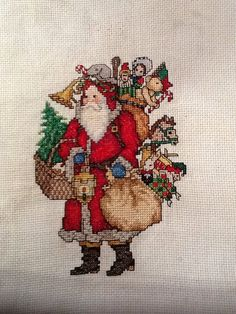 Counted cross stitch red Santa Claus on Etsy, $35.00