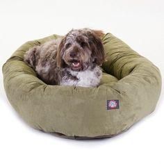 Majestic Pet ExtraLarge 52 Bagel Dog Pet Bed MicroSuede  Sage ** Visit the affiliate link Amazon.com on image for more details.