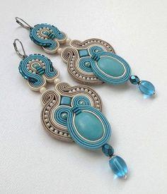 Turquoise Chandelier Earrings Turquoise Dangle by BeadsNSoutache