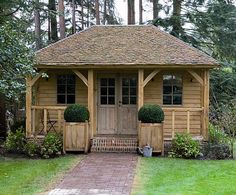Round Wood of Mayfield: Oak framed buildings 5 of 6 Small Cottages, Cabins And Cottages, Log Cabins, Summer House Garden, Summer Houses Uk, Oak Framed Buildings, Garden Cabins, Garden Workshops, Backyard Sheds