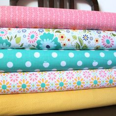 Pink Aqua and Yellow Floral Fabric, Apple of My Eye by The Quilted Fish for Riley Blake, Half Yard Bundle, 5 Prints, 2 1/2 Yards Total. $20.62, via Etsy.    LOVE color combo