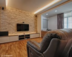 Z L Construction (Singapore) \ TV mounted on a Craftstone brick wall of Ledgestone series Diy Tv Wall Mount, Best Tv Wall Mount, Wall Mounted Tv, Brick Wall Tv, Tv Wanddekor, Living Room Designs, Living Spaces, Tv Feature Wall, Wall Entertainment Center