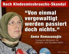 Türkische Ministerin für Familie und Soziales meint: Von einmal vergewaltigt werden passiert doch nichts!