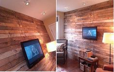 Wall made from wood pallets. Want to make a built in entertainment center using these.
