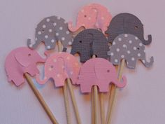 24 Pink Shimmer and Grey Dot Elephant Party Picks - Cupcake Toppers - Food Picks. $3.99, via Etsy.