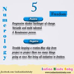 Find out the positives and negatives of the baby with numerology 5 - https://www.indianhindubaby.com/numerology-number-5/
