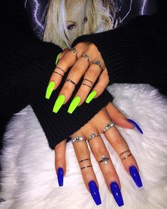 Bright Acrylic Nails Coffin 30 bright manicure ideas for different color nails. Trend big trends in nails are the coffin shape and matte. We love both these styles and so do celebrities like Rihanna. Not only do the two look styli Edgy Nails, Neon Nails, Stylish Nails, Trendy Nails, Swag Nails, Matte Nails, Long Cute Nails, Neon Yellow Nails, Aycrlic Nails