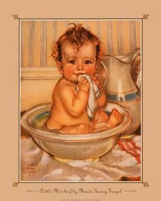 Vintage baby illustration -- by Maud Tousey Fangel (American, Decoupage Vintage, Vintage Pictures, Vintage Images, Victorian Pictures, Vintage Cards, Vintage Postcards, Baby Images, Children Images, Baby Art