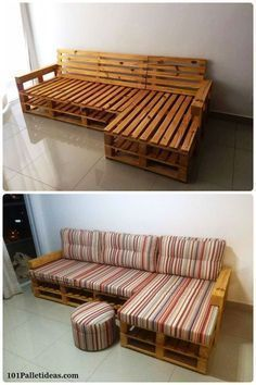 Pallet L-Shape Couch Frame - 20 Pallet Ideas You Can DIY for Your Home | 99 Pallets More #homefurniturecouches