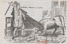 """Xilografía alusiva en cabecera de un hombre con una vara en la mano que dice """"Hombre, déjame la capa"""" a un toro que tiene sus cuernos enredados en la capa"""