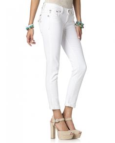 c0c96a1849618 Miss Me® Ladies  Golden Girl Cuffed White Skinny Jeans - Fort Brands