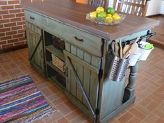 I love this rustic and industrial DIY kitchen island! So much character! Great job on your first build!