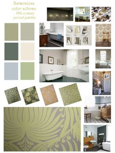 Harmonious color scheme, using a 19th period color palette. Harmonious color schemes are probably the most popular. Easy to achieve with fool-proof rules, they provide more interest than the monochromatic scheme. However, because of its popularity, the scheme can now seem bland if applied without thought, and actually some neighboring colors get on better together than others (e.g. reds and violets is a pretty tricky combination…)