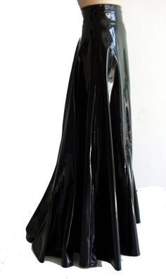 Victorian Glossy PVC leather wide long godet-skirt,