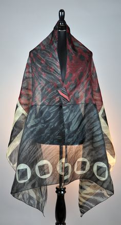 """Pieced 30"""" x 80"""" silk Organza Shawl  with magnetic pin  2014 Reversible ... Bellagio Gallery SOLD"""