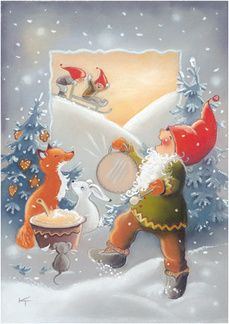 Kaarina Toivanen Christmas Clipart, Christmas Greetings, Winter Christmas, Christmas Crafts, Christmas Stuff, Elves And Fairies, Funny Drawings, Christmas Illustration, Christmas Pictures
