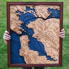 I made a laser cut topo map of San Francisco Bay as a belated housewarming/wedding gift for my sister