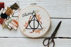Always Embroidery // Wizarding Embroidery // Deathly Hallows Embroidery // Fan Art Embroidery // Floral Embroidery // Embroidery Design