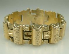 pictures of antique jewelry | Antique Victorian Gold Gate Bracelet Vintage Jewelry Estate Vintage