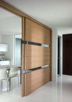 cloison coulissante bois design-moderne-couloir