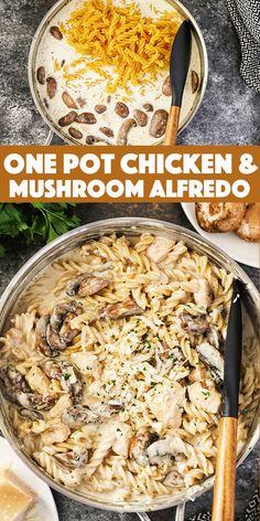 One Pot Chicken Casserole Recipes, Pasta Recipes, Chicken Recipes, Cooking Recipes, Healthy Recipes, Skillet Recipes, Skillet Meals, Homemade Alfredo, Alfredo Recipe