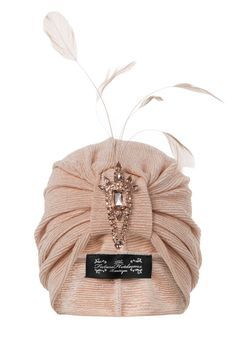 Luxury peach turban with coordinating feather and by TheFHBoutique, £35.00