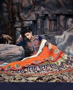 Buy Orange and blue jacket style anarkali suit Online | Latest Designer Orange and blue jacket style anarkali suit - Rutbaa.com