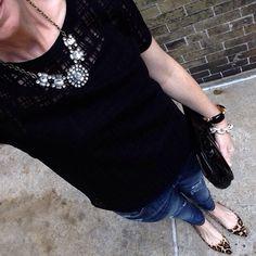 Instagram @headedoutthedoor #ootn || #loftgirl shirt | #vigossusa jeans | #stevemadden flats | #gap clutch (ancient) | #jcrewfactory necklace | #jcrew bracelets