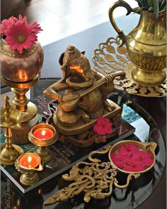 And we are so ready to bid adieu to our bappa today after a wonderful celebration at our end. Indian Room Decor, Ethnic Home Decor, Indian Decoration, Indian Home Interior, Indian Interiors, Festival Decorations, Diwali Decorations, Indian Inspired Decor, Home Decor Furniture