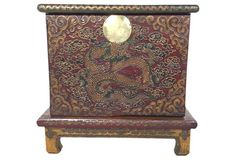 Painted Mongolian Trunk on Stand