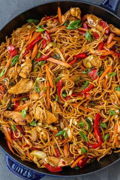 Simple Yakisoba Noodles Recipe - Momsdish Veggie Yakisoba Recipe, Yakisoba Noodles Recipe, Authentic Chicken Yakisoba Recipe, Beef Lo Mein Recipe Easy, Japanese Noodle Dish, Recipes With Japanese Noodles, Japanese Food, Veggie Lo Mein, Sweet Potato Noodles